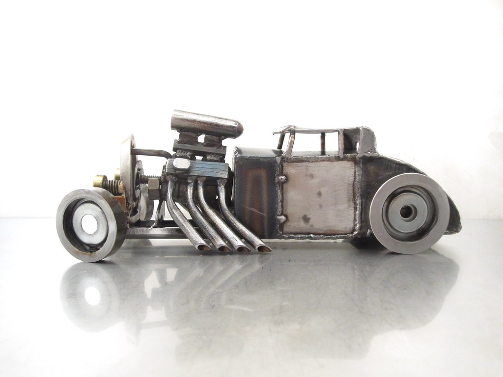 Metal Hot Rod Sculpture 5 Window Ford Coupe Brass
