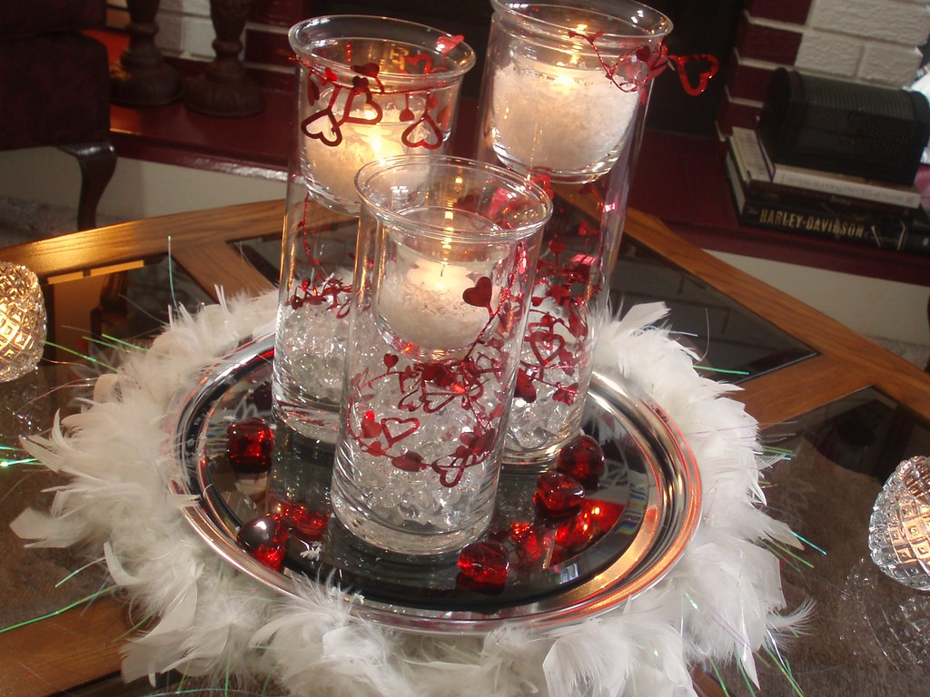 Valentine feather boa centerpiece dining delight flickr