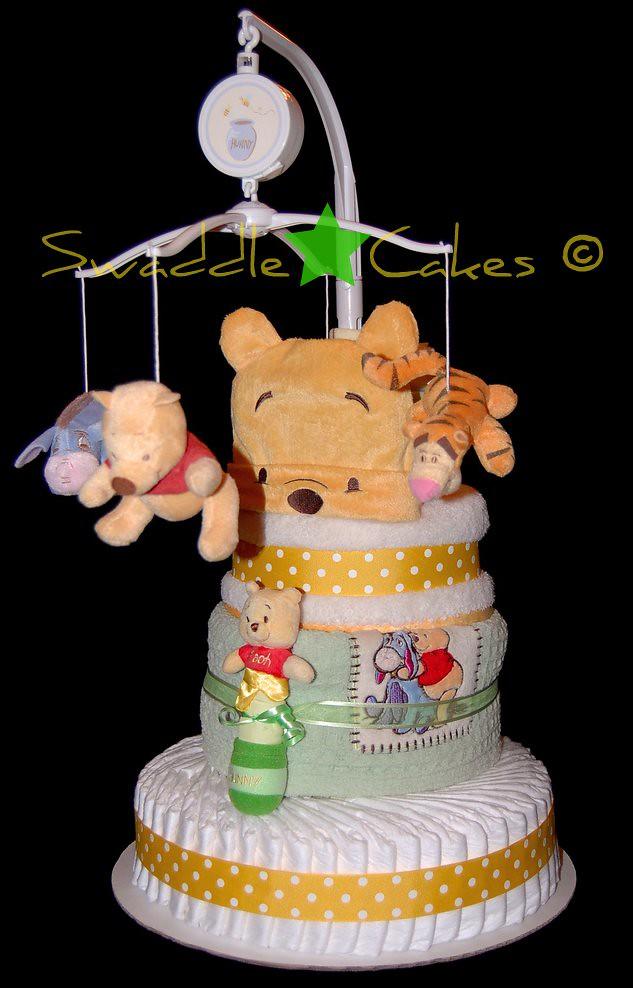 Precious Pooh Bear Diaper Cake 60 Pampers Swaddlers 24
