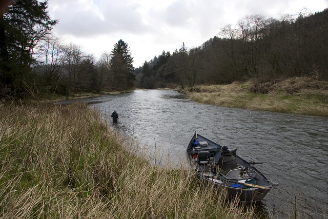 Boat and spey caster on the siletz river oregon coast for Siletz river fishing