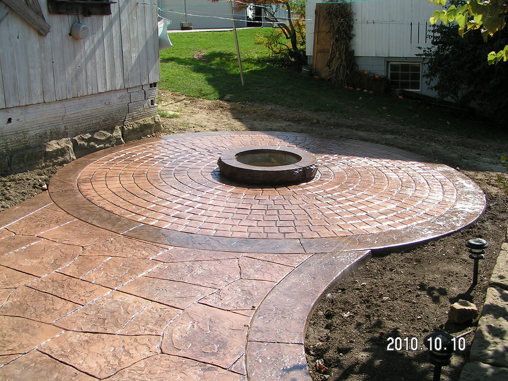 Stamped Concrete Patio With Fire Pit By Swiss Village Conc