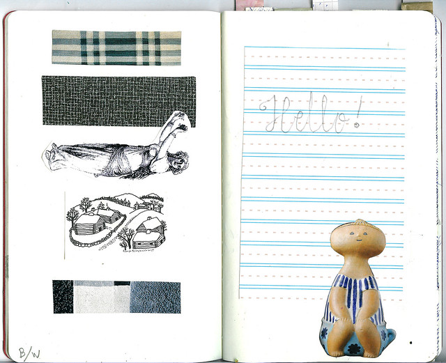 the Sketchbook Project |  Lines, squares and cross stitch patterns