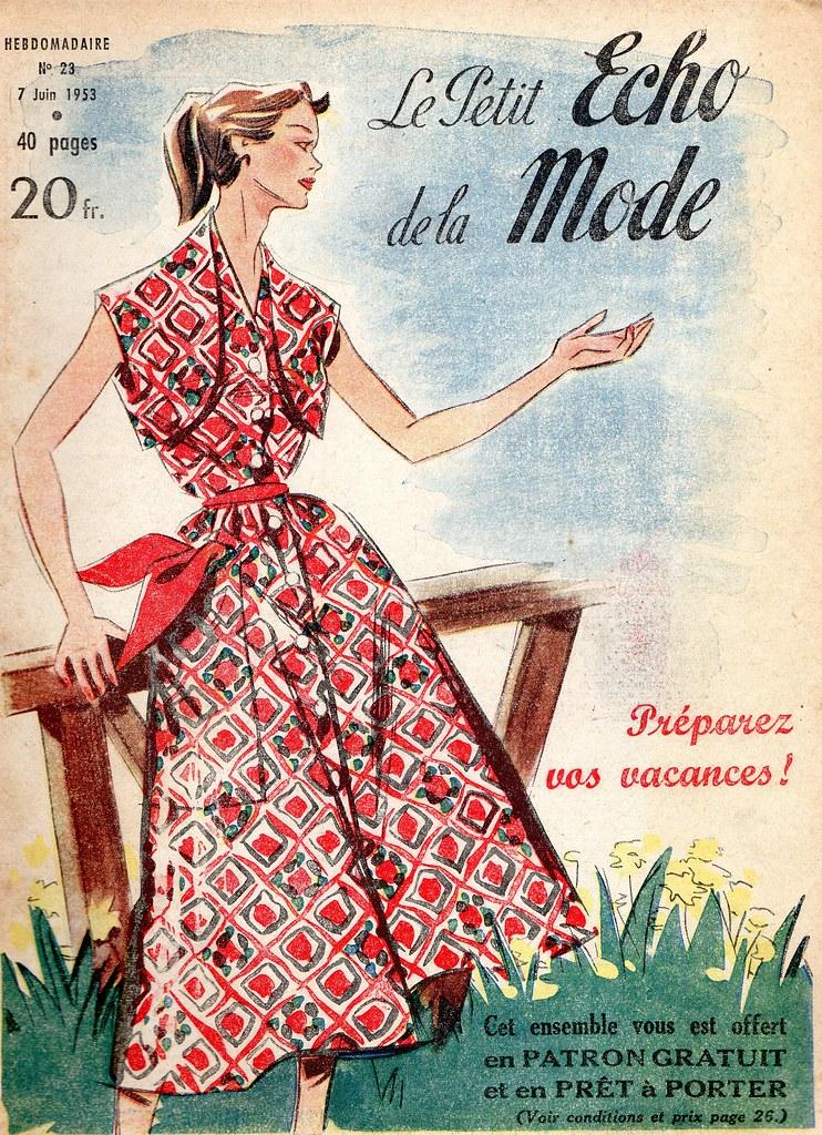 the 1950s 1953 le petit echo de la mode cover mo flickr. Black Bedroom Furniture Sets. Home Design Ideas