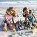 American Girl Dolls make Sandcastles