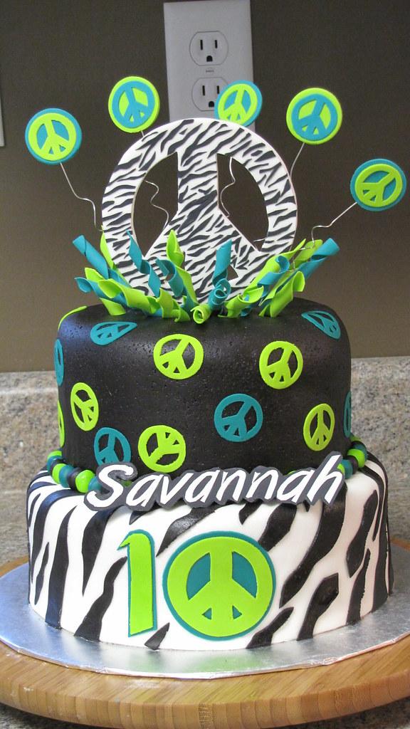 Zebra Peace Sign Birthday Cakes