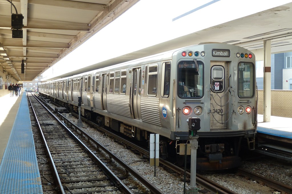 3200 Series Brown Line Train At Kimball A 3200 Series
