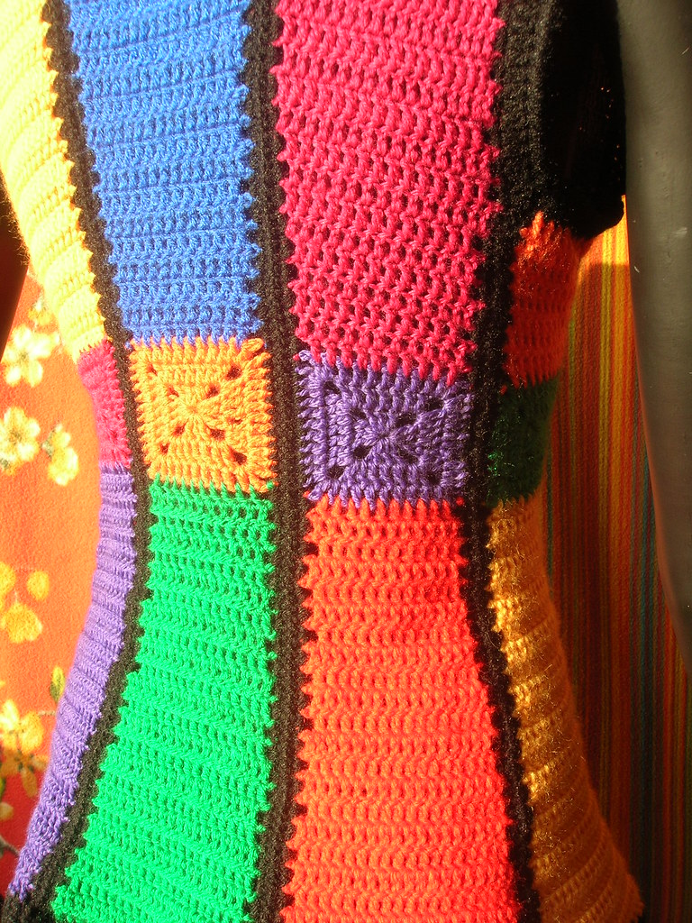 Stained Glass Shaped Granny Squares Vintage Crochet Vest -5964