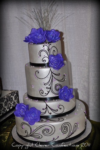 Royal Blue White And Silver Wedding Cake