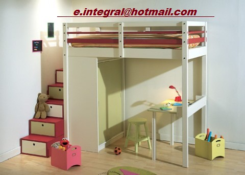 Cama alta con escalera cajonera closet escritorio banquito - Escalera cama infantil ...