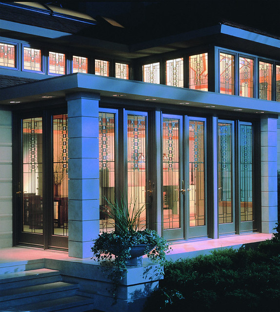 400 series art glass frank lloyd wright design prairie for Andersen windows art glass