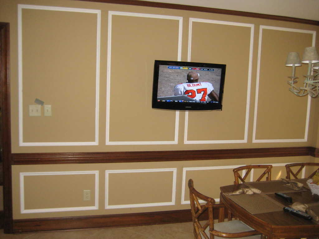 shadow box wainscoting above and below chair railing