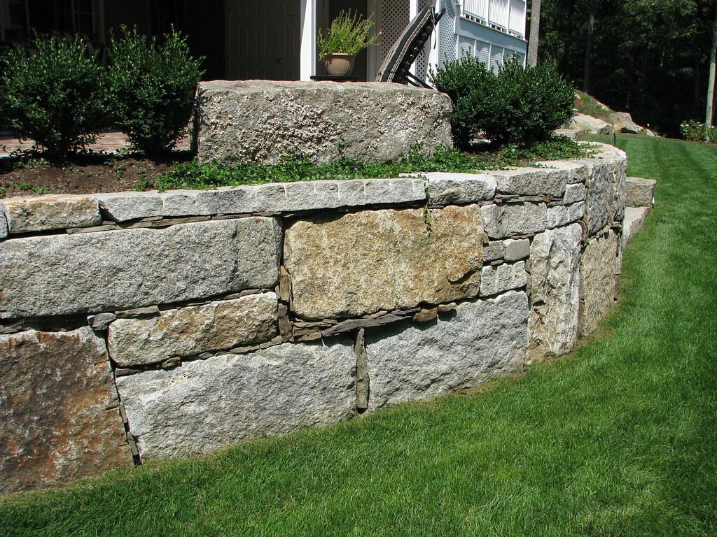 White Retaining Wall Blocks : Reclaimed granite block retaining wall the use of