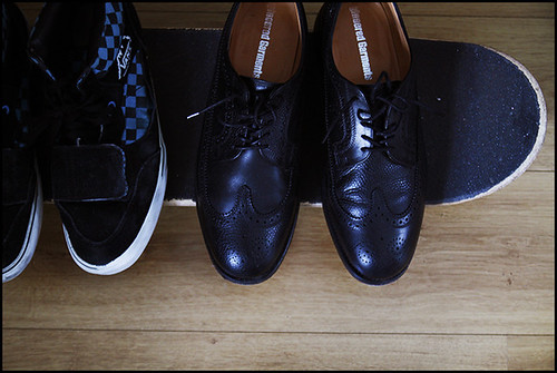 2011_02 Essentials at my Home in Dublin - My skateboard, Vans and Engineered Garments x Mark McNairy Brogues | by tuukka13