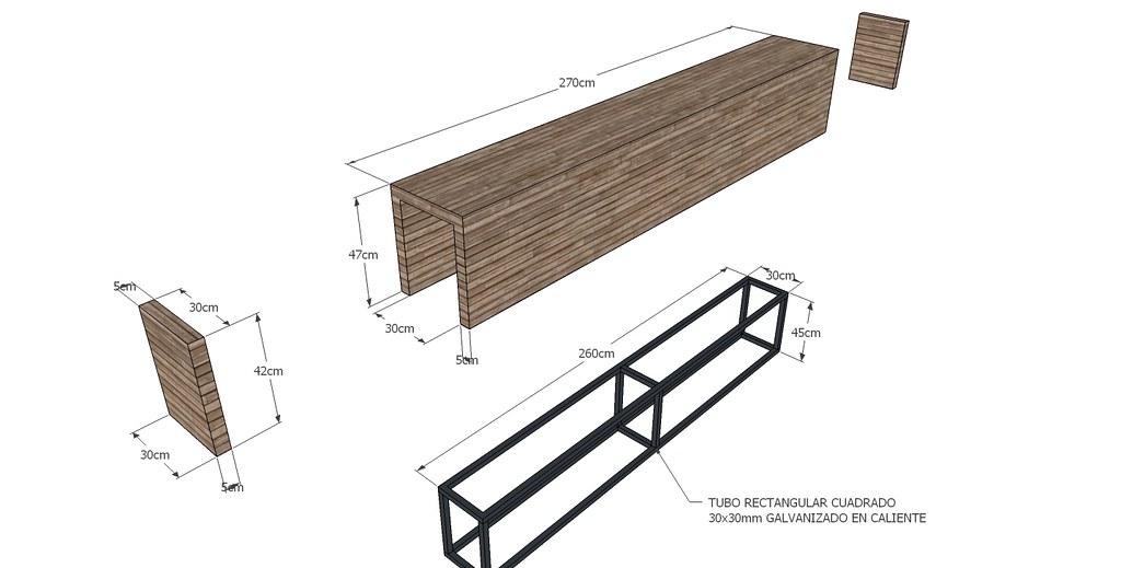 Banco corrido de madera laminada hadit arquitectos flickr for Madera laminada