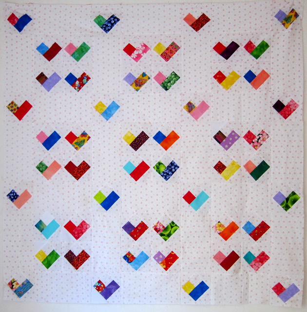 Scrappy Four Patch Heart Quilt - Free Quilt Pattern ...