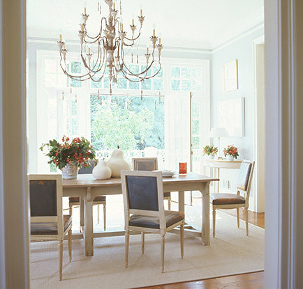 Suzanne kasler dining room light blue the estate of for Light blue dining room