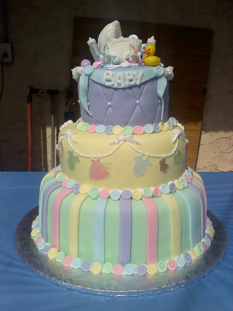 Pastel Colored Baby Shower Cake | Gaspar Rodriguez | Flickr