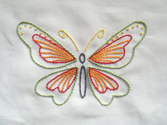 Flutter by free embroidery pattern