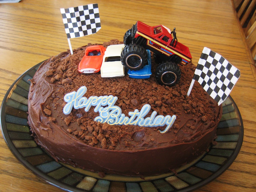 Monster Truck Cake Vanilla Cake With Chocolate Icing