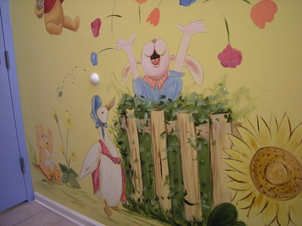 Nursery rhyme characters children 39 s day care mural flickr for Character mural