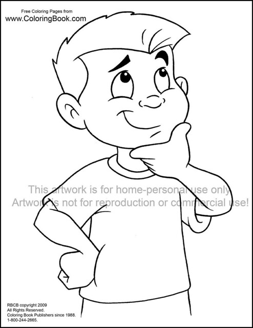 Kid thinking free coloring page flickr photo sharing for Thinking of you printable coloring pages