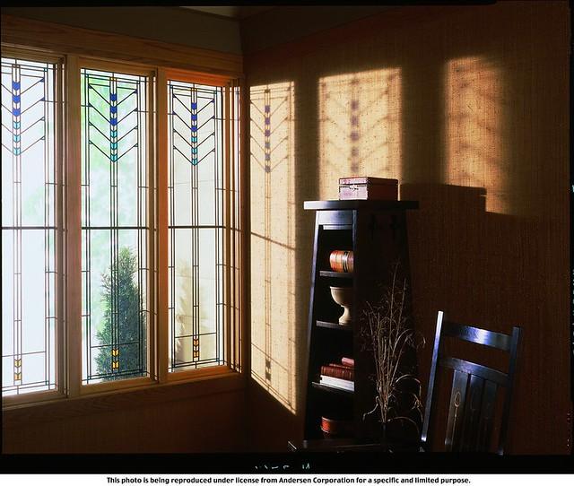 400 series art glass frank lloyd wright design for Andersen windows art glass