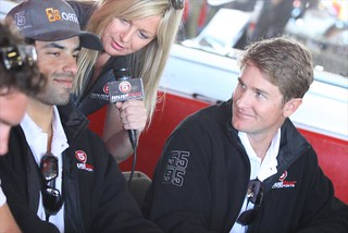 Ryan Hunter-Reay and Raphael Matos are interviewed at the driver autograph session | by IndyCar Series