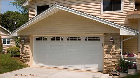 Garage door two car long panel white garage door long for Two car garage doors