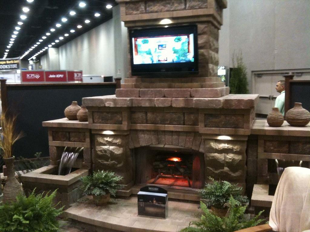 Outdoor fireplace w flat screen