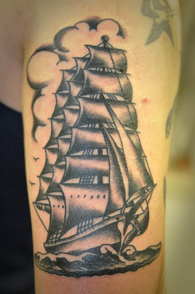 Black and grey traditional clipper ship tattoo by keelhaul for Traditional black and grey tattoo