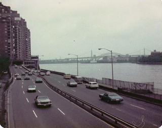 FDR Expressway, the East River, Triboro Bridge, Hell Gate Bridge. Is that Theo Kojak driving one of these 70s beauties? Hey, who loves ya, baby! New York. March  1975 | by wavz13