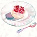 meringue with a layer of rose-flavoured cream topped with pomegranate jewels for Stella Magazine