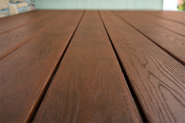 color quality in composite deck material close-up