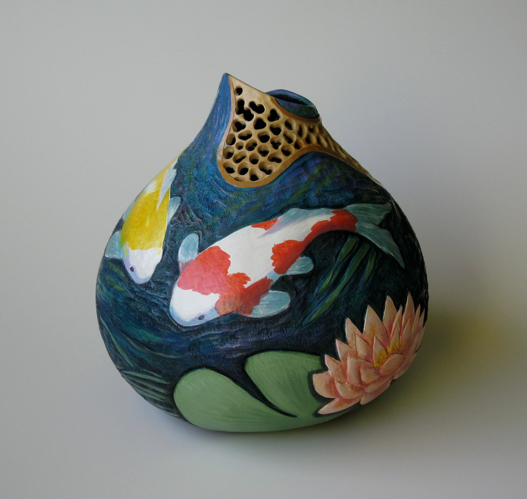 For sale carved gourd with koi motif greta schneider cop for Local koi for sale