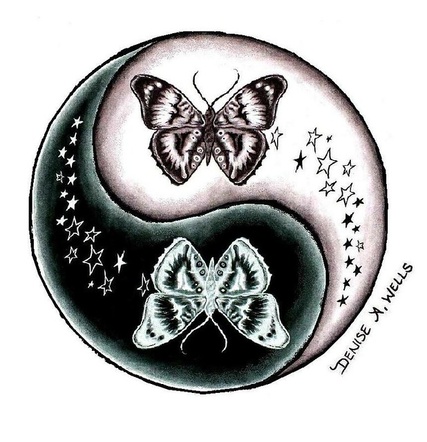 Butterfly and stars yin yang tattoo design by denise a wells flickr photo sharing - Tatouage ying yang ...
