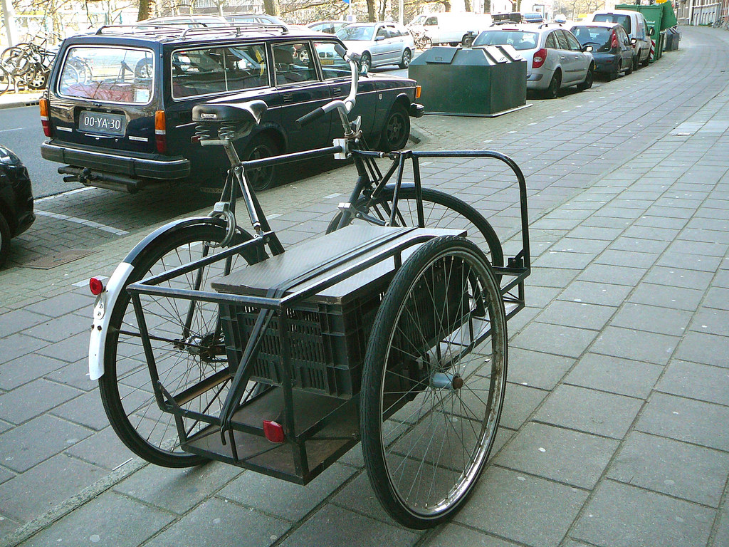 bicycle with sidecar amsterdam nassaukade fiets met zijs flickr. Black Bedroom Furniture Sets. Home Design Ideas