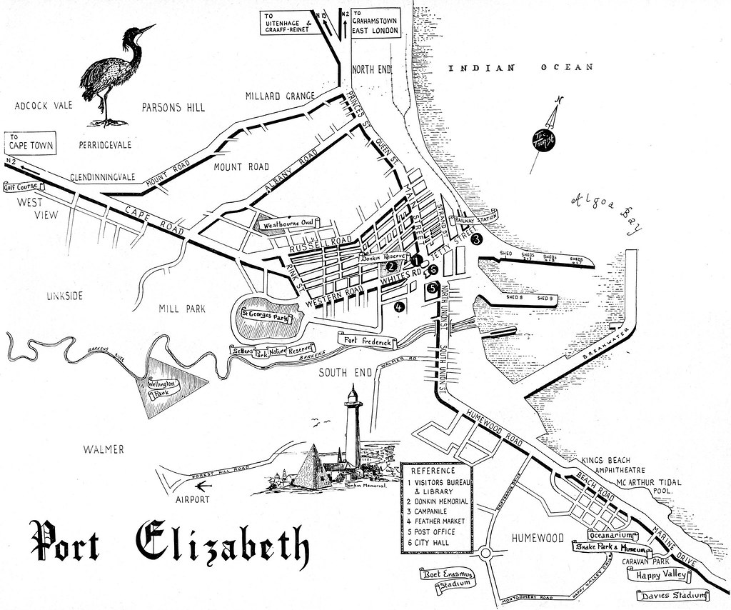 Port elizabeth street map the tourist in south africa 1965 flickr - Port elizabeth south africa map ...