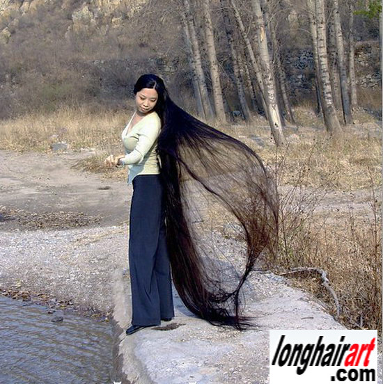 3 long hair Girl long hair lady long ponytail longest hair ...
