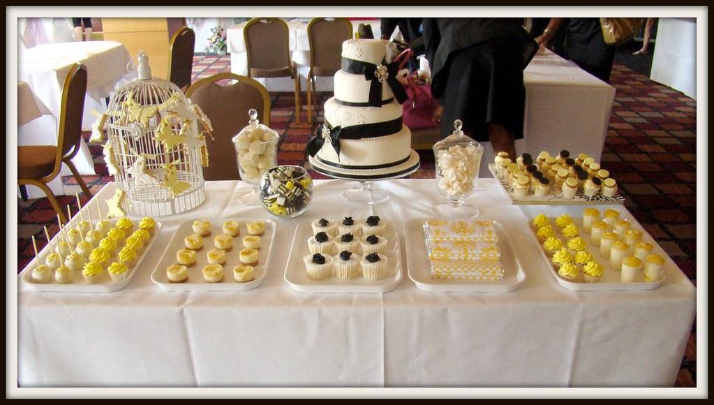 Yellow White And Black Dessert Table Dessert Table