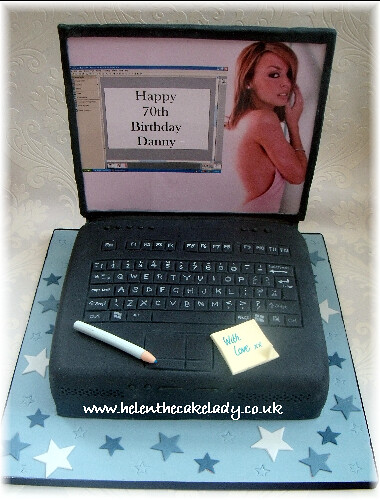 Kylie Laptop cake | A fun design for a man turning 70. He ...