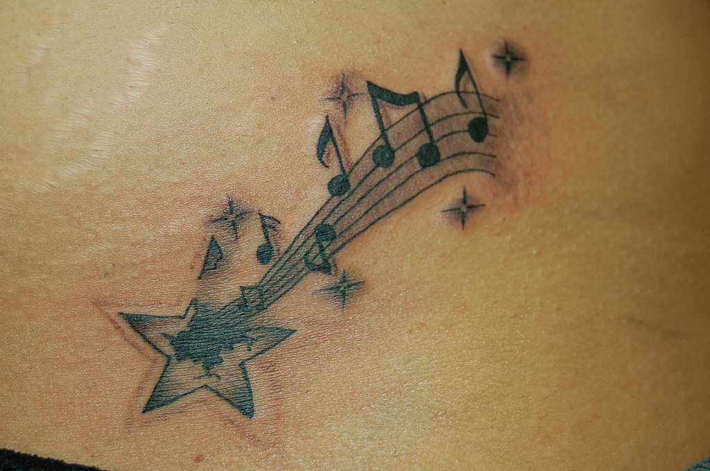 b Music Note Tattoo With Musical Notes Tattoo