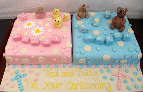 Christening Cakes Designs For Twins