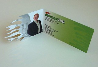 Die Cut, Fold Over Silk Laminated Business Card | by UV Coated Business Card