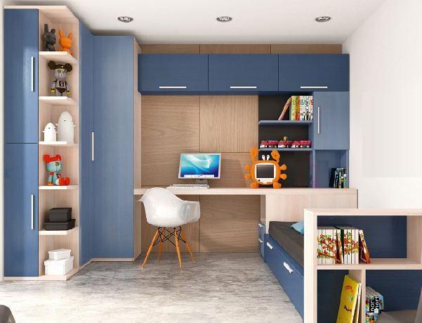 Recamara individual con cajonera o cama nido escritorio ca for Recamaras con escritorio
