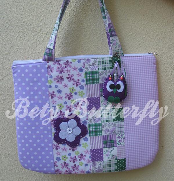 Bolsa De Viagem Em Tecido Passo A Passo : Bolsa de tecido para notebook patchwork com chaveiro coruj