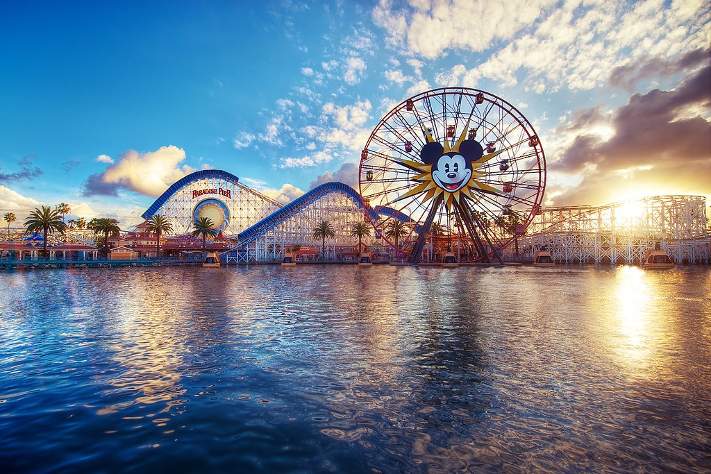 Paradise Pier From Left To Right We Have Palm Trees A