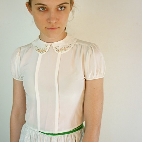 Peter Pan Collar Blouse White