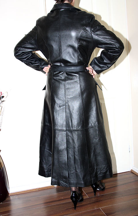leather governess full length flared mac