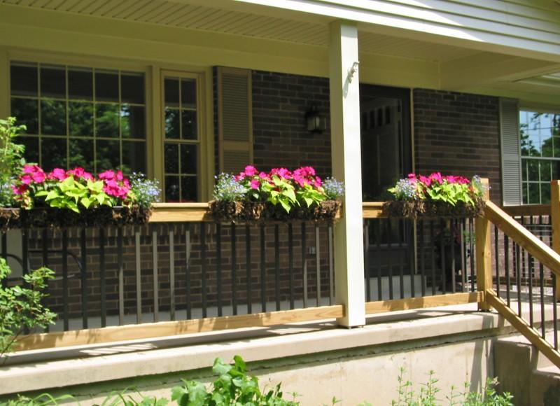 Front Porch Flower Boxes Impatiens Coleus Lobelia And