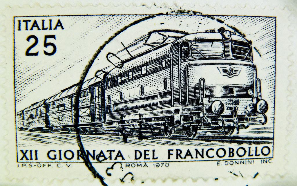 st italy timbre italie 25 lire postage railway ra